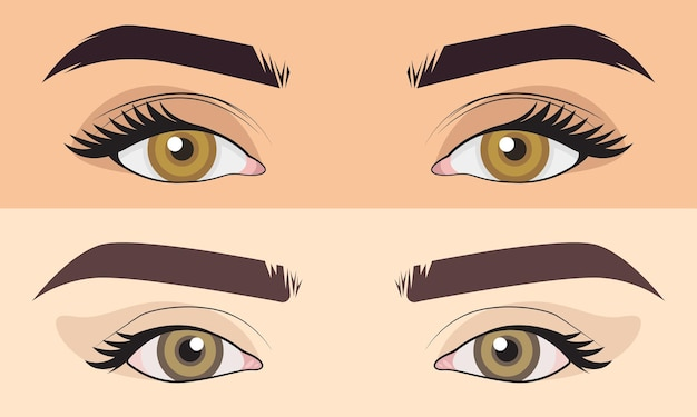 Cute hand drawn set men and girl close up eyes area