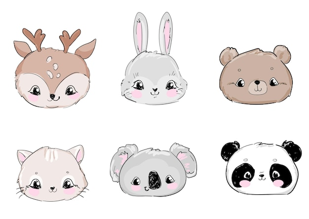 Симпатичные рисованной набор голов животных