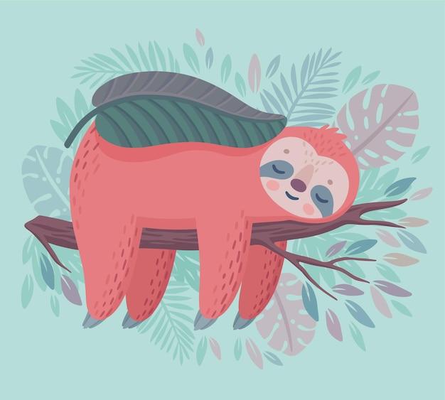 귀여운 손으로 그린 나무 늘보 정글 그림에서 자고