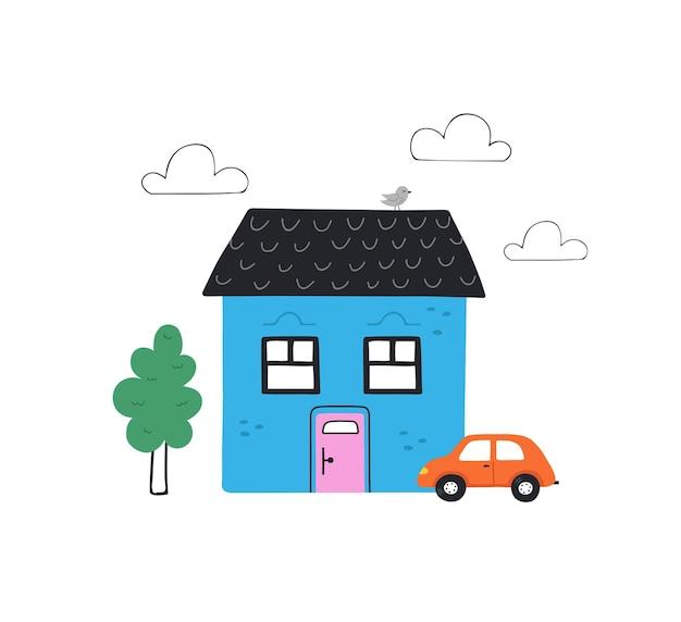 Симпатичные рисованной небольшой синий домик с деревом и автомобилем. модная иллюстрация в плоском стиле.