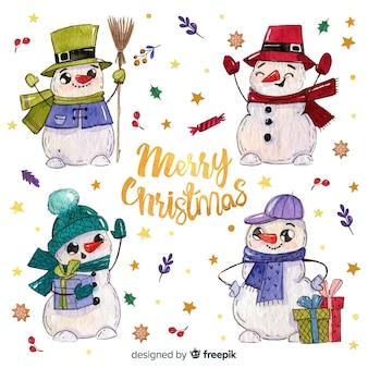 Cute hand drawn snowman background