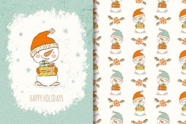 Симпатичные рисованной снеговика с рождественской картой элементов и бесшовные