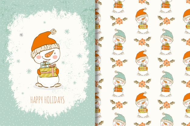 Cute hand drawn snowman with christmas elements card and seamless pattern