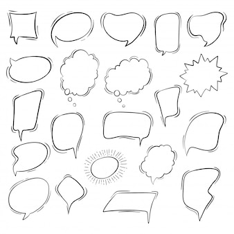 Cute hand drawn speech bubbles collection