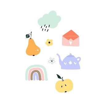 귀여운 손으로 그린 봄 배, 무지개, 사과, 비오는 구름, 주전자, 봉투. 엽서, 인사말 카드, 티셔츠 디자인을 위한 아늑한 휘게 스칸디나비아 템플릿입니다. 평면 만화 스타일의 벡터 일러스트 레이 션