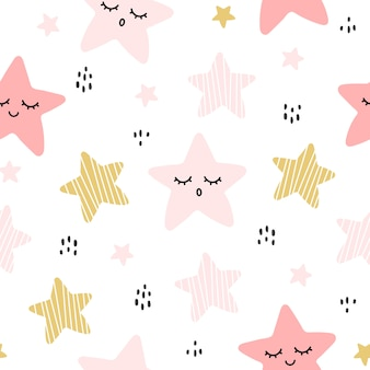 Cute hand drawn star seamless pattern