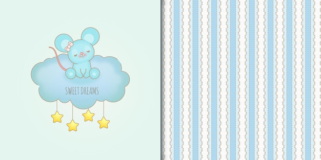 Cute hand drawn sweet dreams baby mouse on a blue cloud and seamless pattern