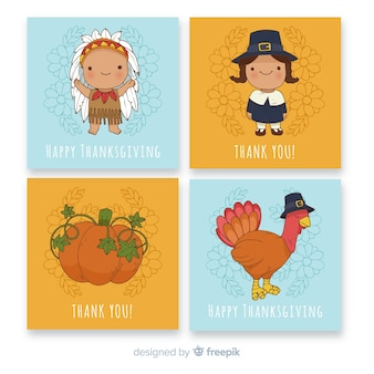 Cute hand drawn thanksgiving day card collection