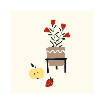 귀여운 손으로 그린 작은 꽃 화분. 엽서, 포스터, 인사말 카드, 어린이 티셔츠 디자인을 위한 아늑한 휘게 스칸디나비아 스타일 템플릿입니다. 평면 만화 스타일의 벡터 일러스트 레이 션