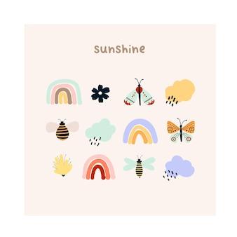 かわいい手描きの小さな虹、花、蝶、雨雲、蜂。はがき、グリーティングカード、tシャツのデザインのための居心地の良いヒュッゲスカンジナビアスタイルのテンプレート。フラット漫画スタイルのベクトル図