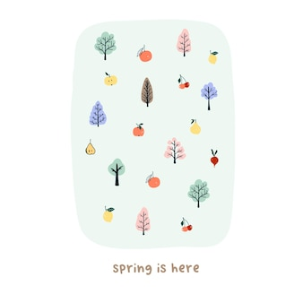 かわいい手描きの小さな春の木や果物。はがき、ポスター、グリーティングカード、キッズtシャツのデザインのための居心地の良いhyggeスカンジナビアスタイルのテンプレート。フラット漫画スタイルのベクトル図