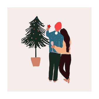 かわいい手描きの小さな夏のヤシの木と果物スイカドラゴンフルーツパパイヤ