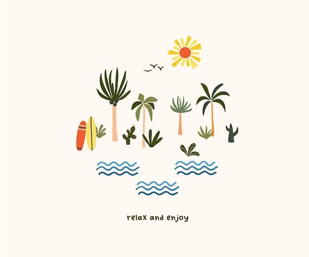귀여운 손으로 그린 작은 여름 야자수와 서핑 보드. 인사말 카드, 티셔츠 디자인을 위한 귀여운 휘게 스칸디나비아 템플릿입니다. 평면 만화 스타일의 벡터 일러스트 레이 션