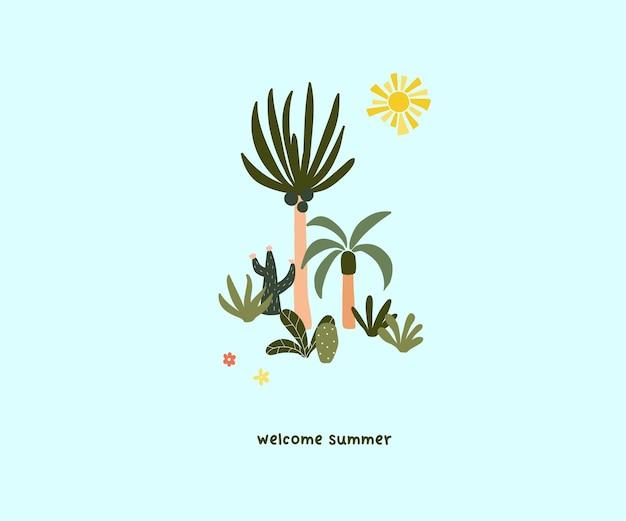 귀여운 손으로 그린 작은 여름 야자수. 인사말 카드, 티셔츠 디자인을 위한 귀여운 휘게 스칸디나비아 템플릿입니다. 평면 만화 스타일의 벡터 일러스트 레이 션