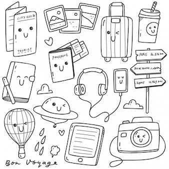 Cute hand drawn travel doodles kawaii line art