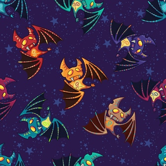 Cute hand drawn tribal bat pattern for happy halloween