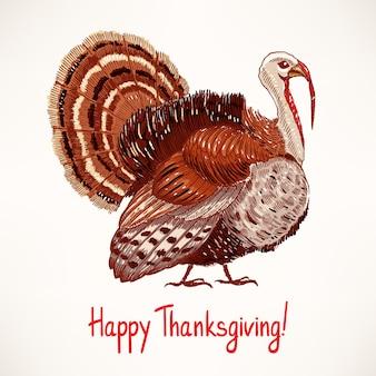 かわいい手描きの七面鳥。スケッチ。感謝祭の日のためのカード