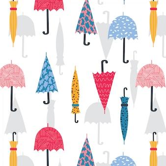 Cute hand drawn umbrella seamless pattern.