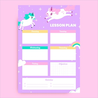 Piano di lezione animale unicorno disegnato a mano sveglio