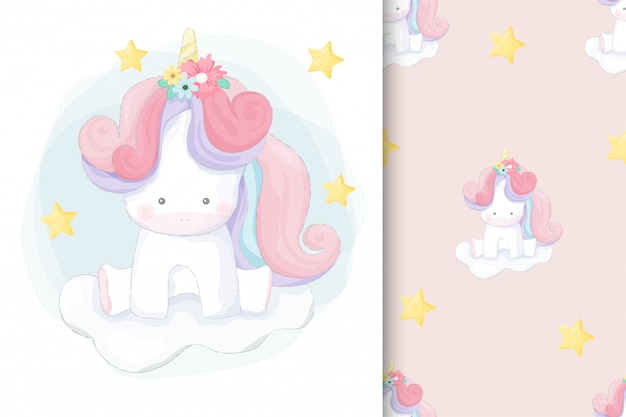Cute hand drawn unicorn with seamless pattern