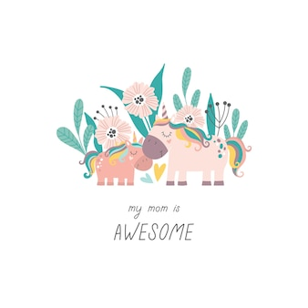 Cute hand drawn unicorns mom and baby with floral background cartoon vector illustration