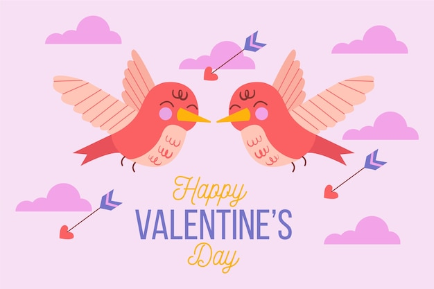 Cute hand drawn valentine's day background