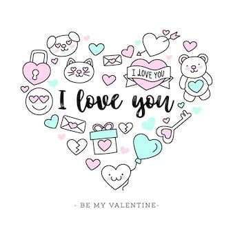 Cute hand-drawn Valentine's Day Background