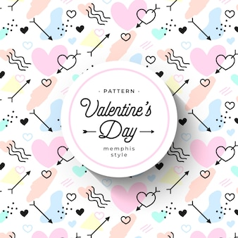 Cute hand-drawn valentine's day pattern in memphis style