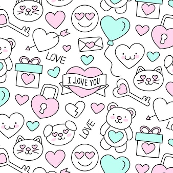 Cute hand-drawn valentine's day pattern