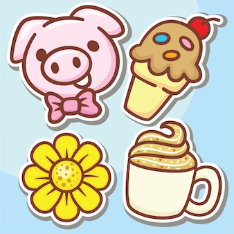 Cute hand drawn variety objects stickers