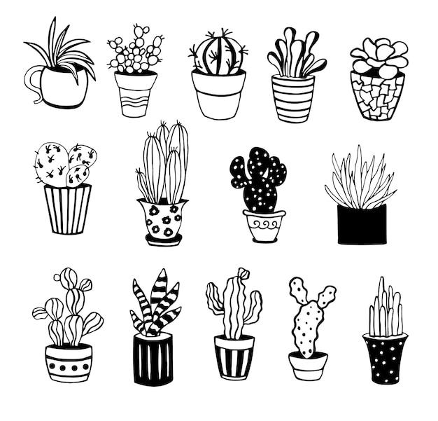 Симпатичные рисованной вектор кактус.