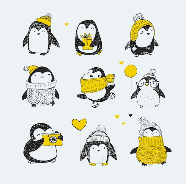Симпатичные рисованной, набор векторных пингвинов - с рождеством христовым