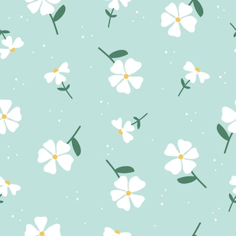 Cute hand drawn vintage floral pattern seamless background vector