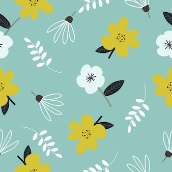 Cute hand drawn vintage floral pattern seamless background