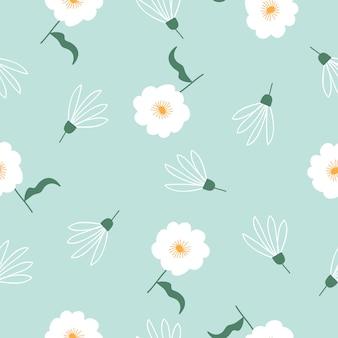かわいい手描きヴィンテージ花柄シームレス背景