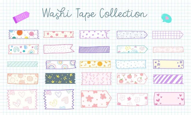 Cute hand drawn washi tape collection in pastel color