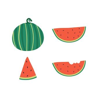 Cute hand drawn watermelon and watermelon slice