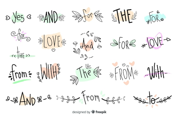 Cute hand drawn wedding catchword collection