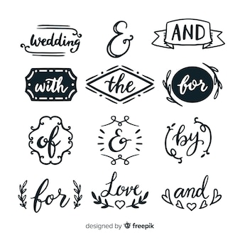 Cute hand drawn wedding catchword pack