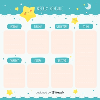 Cute hand drawn weekly schedule template