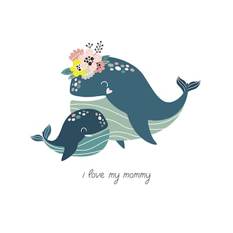 Cute hand drawn whale with flowers mom and baby cartoon vector illustration for print
