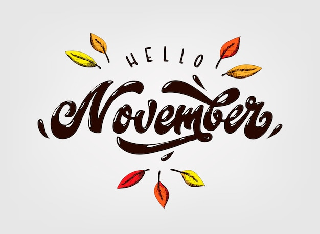 Cute hand lettering quote 'hello november'