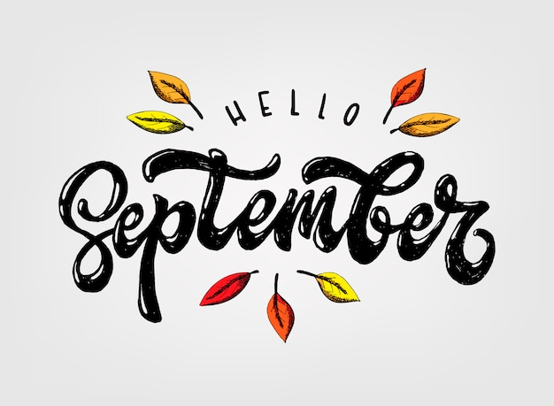 Cute hand lettering quote 'hello september' | Premium Vector