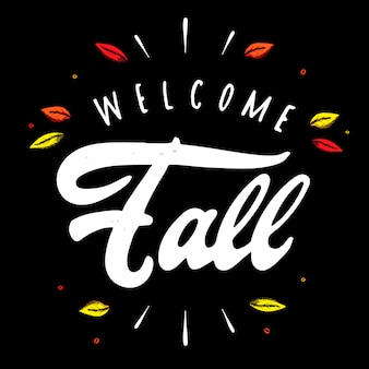 Cute hand lettering quote 'welcome fall'