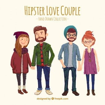 Cute hand painted hipster couples
