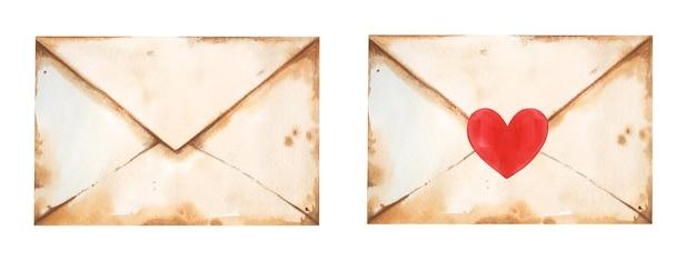バレンタインデーのハートのステッカーがセットされたかわいい手描きの水彩ヴィンテージの手紙