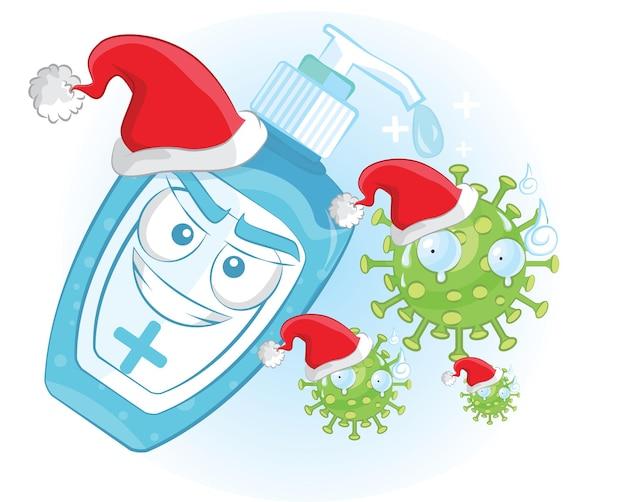귀여운 손 소독제는 산타 모자로 바이러스를 잡아냅니다. 건강 및 바이러스 새 해 개념입니다.