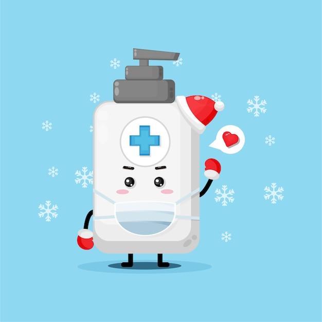 Cute hand sanitizer mascot using medical mask