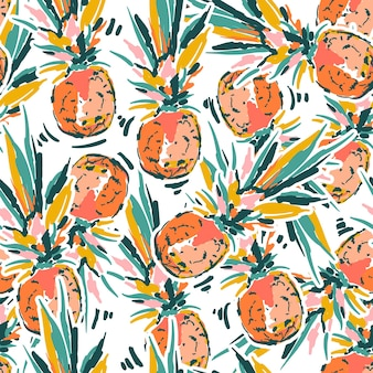 Cute hand sketch brush paint pineapple seamless patterns vector eps10,design for fashion , fabric, textile, wallpaper, cover, web , wrapping and all prints