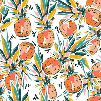 귀여운 손 스케치 브러시 페인트 파인애플 원활한 패턴 벡터 eps10, 패션, 직물, 섬유, 벽지, 커버, 웹, 포장 및 모든 인쇄용 디자인